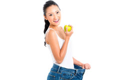 Asian woman losing weight Stock Image