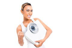 Asian woman losing weight with diet Stock Images