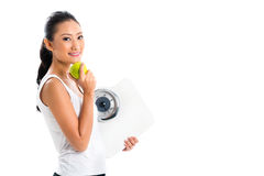 Asian woman losing weight with diet Royalty Free Stock Photo