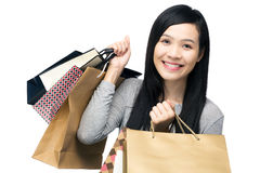 Asian woman with lots of shopping bag Stock Photography