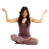 Asian woman in lotus position Stock Photos
