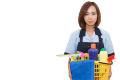 Asian woman maid. Asian woman as a cleaning maid wearing standard uniform holding cleaning equipment on white background, isolated with copy space stock images