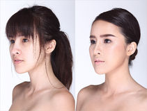 Asian Woman before after make up hair style. no retouch, Royalty Free Stock Images