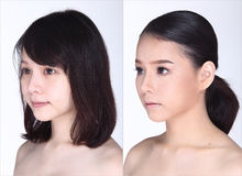 Asian Woman before after make up hair style. no retouch, royalty free stock photography