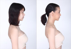 Asian Woman before after make up hair style. no retouch, stock photos