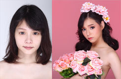 Asian Woman before after make up hair style. no retouch, royalty free stock photos