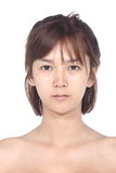 Asian Woman before make up. no retouch, fresh face with acne, sk Stock Photo