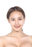 Asian Woman before make up. no retouch, fresh face with acne Royalty Free Stock Photos