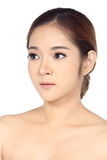 Asian Woman after make up. no retouch, fresh face with acne Royalty Free Stock Photo