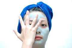 Asian woman on mask Stock Photos