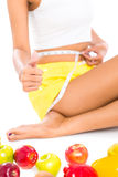 Asian woman measuring body size Stock Photo