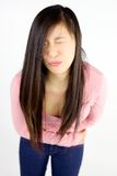 Asian woman with menstruation pain Royalty Free Stock Image