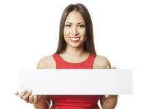 Asian woman message board Royalty Free Stock Images