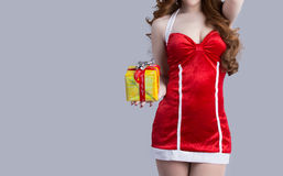 Asian woman model in Santa Claus clothes Royalty Free Stock Photos