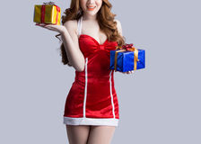 Asian woman model in Santa Claus clothes Royalty Free Stock Photography