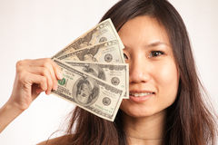 Asian woman in the morning. Asian woman making some money Stock Image