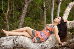Asian woman in nature Royalty Free Stock Photography