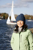 Asian woman near Thames Stock Image