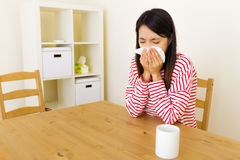 Asian woman with nose allergy Stock Photography