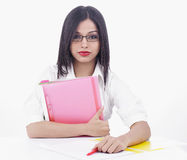 Asian woman in a office Stock Images