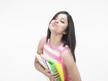 Asian woman with office files Royalty Free Stock Image