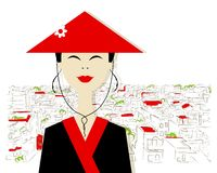 Asian Woman On City Background For Your Design Stock Photo