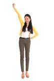 Asian woman one hand up Royalty Free Stock Photography