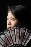 Asian Woman with Oriental Fan Royalty Free Stock Photos