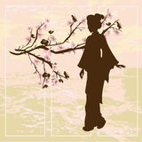 Asian woman. Oriental style painting. Royalty Free Stock Images