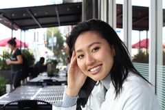 Asian woman at outdoor with copy space Royalty Free Stock Image