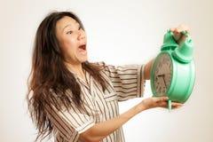 Asian woman oversleep Royalty Free Stock Photos