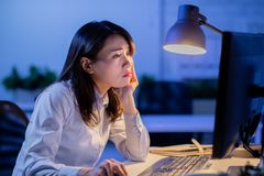 Woman overtime work stock photos