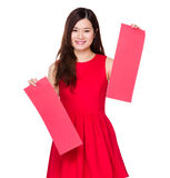 Asian woman pair of red banner Royalty Free Stock Photo