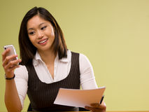 An asian woman paying bills online Royalty Free Stock Photo