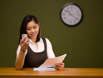 An asian woman paying bills online Stock Photo