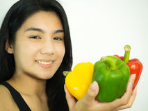 Asian woman and pepper royalty free stock images