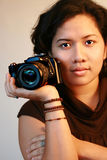 Asian woman photographer royalty free stock images