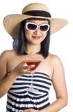 Asian Woman and Pink Martini Stock Photos