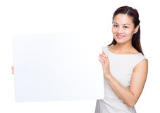 Asian woman with placard Royalty Free Stock Image