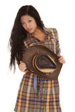 Asian woman plaid hold hat Royalty Free Stock Photos