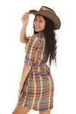 Asian woman plaid touch hat looking Royalty Free Stock Images
