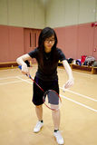 Asian woman playing badminton Royalty Free Stock Photography