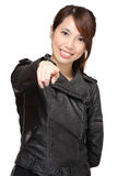 Asian woman point to you Royalty Free Stock Photography
