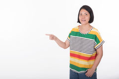 Asian woman pointing Stock Image