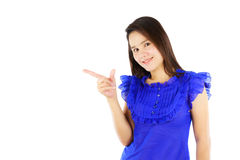 Asian woman pointing something isolated on white Stock Image