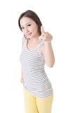Asian woman pointing Royalty Free Stock Image