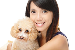 Asian woman with poodle dog Royalty Free Stock Images