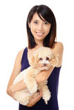 Asian woman with poodle Royalty Free Stock Photo