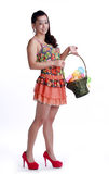 Asian woman portable fruit basket Stock Photography