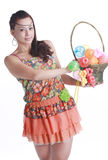 Asian woman portable fruit basket Stock Photos